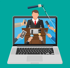 Laptop with press conference live video. Rostrum, tribune, hands of journalists with microphones. News, media, journalism. Broadcasting, online video, live stream. Flat vector illustration