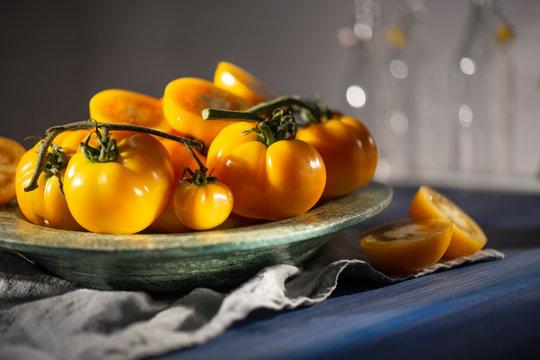 yellow tomatoes, close up