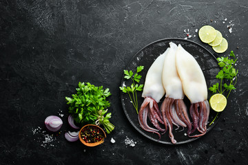 Raw squid with spices. Seafood on a black stone background. Top view. Free copy space.