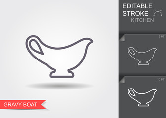 Gravy boat. Line icon with editable stroke with shadow