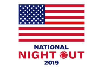 National Night Out.This is a community-police awareness-raising event in the United States, held the first Tuesday of August. Design for poster, greeting card, banner, background.