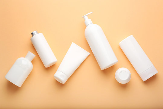 Set of cosmetic products on color background