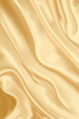 Folds Silk Background. Cloth Drapery. Fabric Curve Texture. Luxury Elegant Vector Satin Pattern. Soft and Shiny Abstract Wave Image Illustration. Royal Yellow Color Wavy Textile. Velvet material