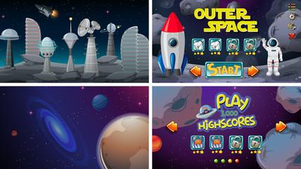 Printed kitchen splashbacks Purple Set of space games