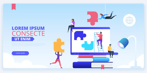Team building landing page vector template