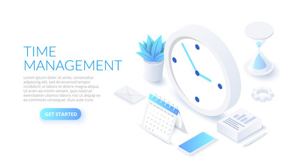 Isometric time management banner with character and text place. Job schedule optimization concept.