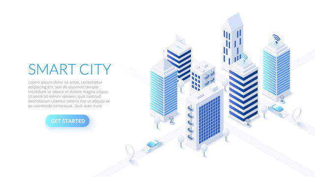 Isometric smart city illustration. Business center with skyscrapers and intelligent buildings. Streets of the city connected to computer network. Internet of things concept.