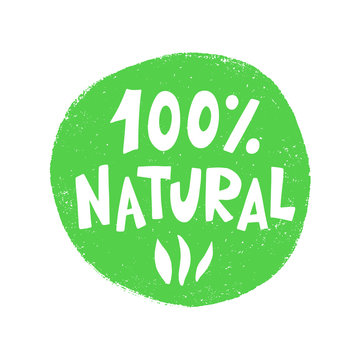100 Percent Natural food green sign, organic vector stamp sticker