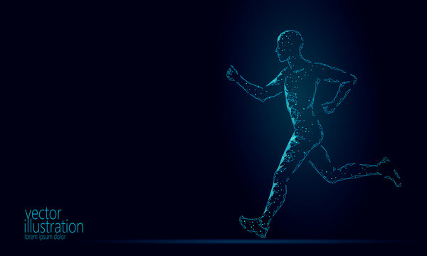 Sportsman run exercise fitness healthy lifestyle concept. Low poly man silhouette jogging fit marathon. Muscular body shape workout vector illustration