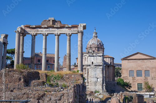 Wall mural Ancient ruins of a Roman Forum or Foro Romano, Rome, Italy.