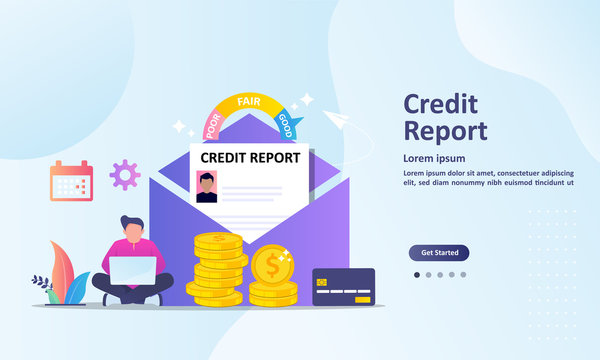 Credit Report concept, personal credit score information and financial rating, Suitable for web landing page, ui, mobile app, banner template. Vector Illustration.