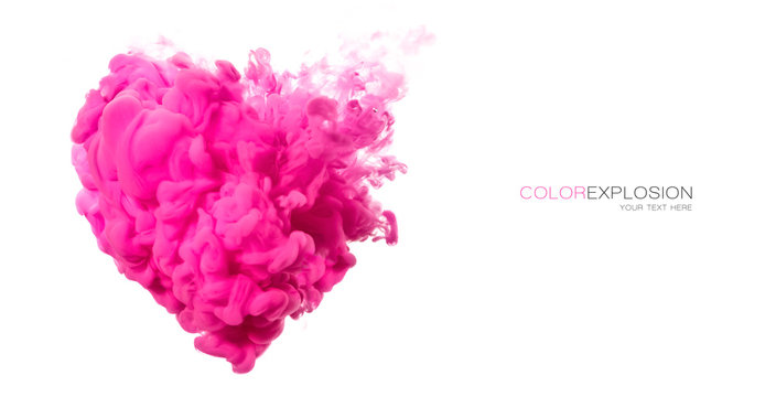 Acrylic Ink in Water. Pink cloud heart shaped on white. Color Explosion