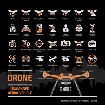 Drone unmanned aerial vehicle icon set on a black background with flat orange UAV template and symbols collection: camera, military and delivery robots, remote control, GPS navigation glyph signs.