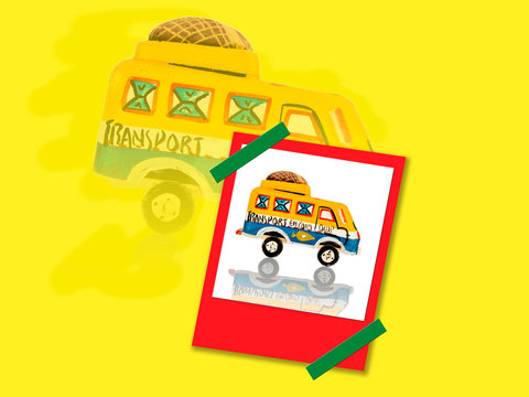 Polaroid of an African toy - Bush taxi