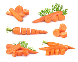 set of carrots on a white background