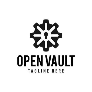 Vault logo hipster vintage retro door vector illustration