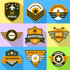 Air force logo set. Flat set of 9 air force vector logo for web design isolated on white background