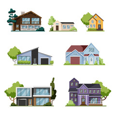 House set. Collection of cottage, modern architecture