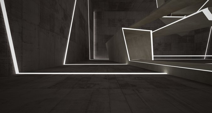 Abstract brown and beige  concrete interior with neon lighting. 3D illustration and rendering.