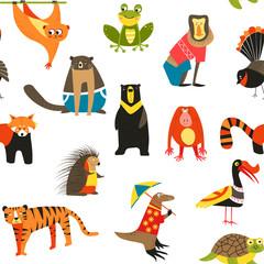 Wild Asian animals and birds seamless pattern wildlife