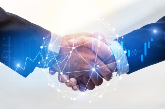 Deal. business man shaking hands with effect global network link connection and graph chart of stock market graphic diagram, digital technology, internet communication, teamwork, partnership concept