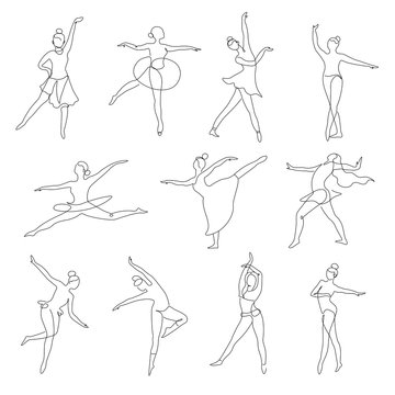 Ballet or contemporary dancer outline isolated icons dancing positions