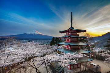 Chureito Pagoda in Arakurayama Sengen Park, Fujiyoshida, Yamanashi Prefecture, Honshu, Japan, Asia