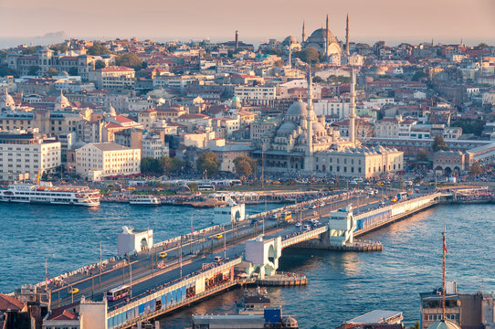 Beautiful aerial view of Istanbul historic centre with Galata bridge