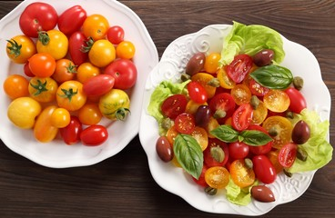 Salad of colorful tomatoes.