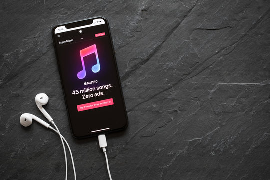 Riga, Latvia - March 25, 2018: Apple Music streaming service website on the iPhone X.