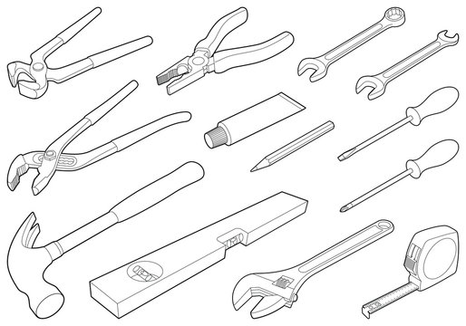 Construction tool collection - vector isometric outline illustration