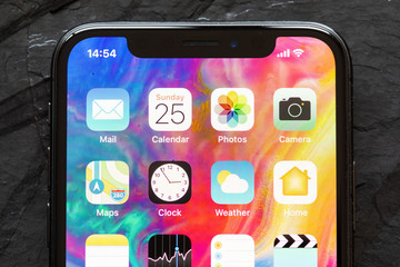 Riga, Latvia - March 25, 2018: Close up of home screen of iPhone X