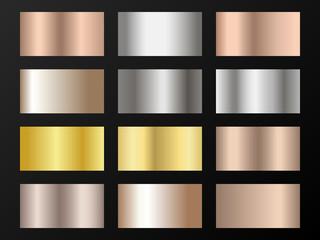 Gold, silver and bronze gradients vector mega set.