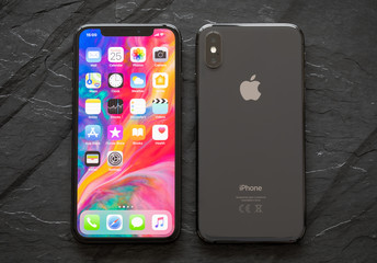 Riga, Latvia - March 25, 2018: iPhone X, front and back sides.