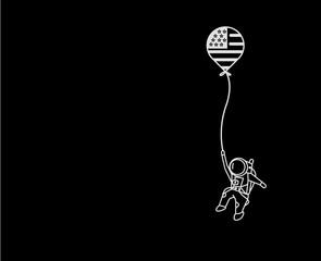 USA Flag Balloon hanging astronauts space mission, Flat Line Art Vector illustration.