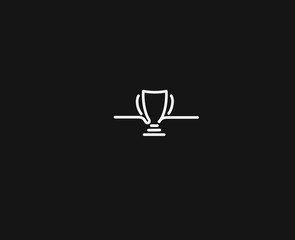 Trophy cup line art icon, Vector on white background