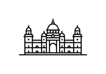 Indian city icon - Victoria memorial, Kolkata - West Bengal - Line art. Papier Peint