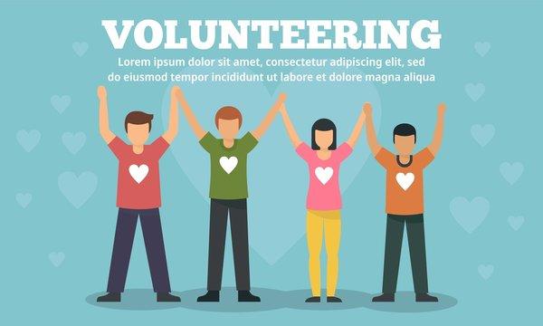Group volunteering concept banner. Flat illustration of group volunteering vector concept banner for web design