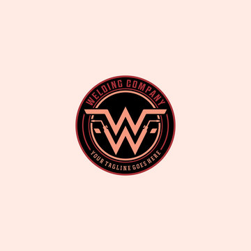 Monogram of two letters w for welding company badge logo design inspiration
