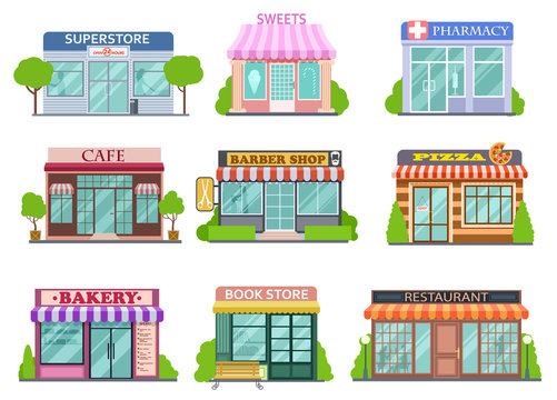 Flat shops set. Barber shop, bookstore and pharmacy. Bakery and pizza isolated cartoon stories vector collection. Store and pizza, restaurant facade, market building illustration