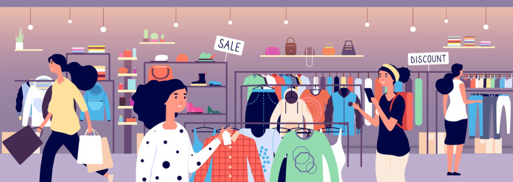 Women in clothing store. People shoppers choosing fashion clothes in boutique. Garment shop interior vector concept. Illustration of boutique clothing, fashion store mall
