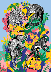 Four monkeys eating bananas on colour composition