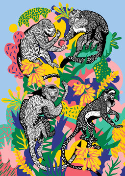 Four monkeys eating bananas on colour composition