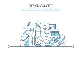 Designer website banner. For drawing landing page mobile app icons set, creative idea, digital art
