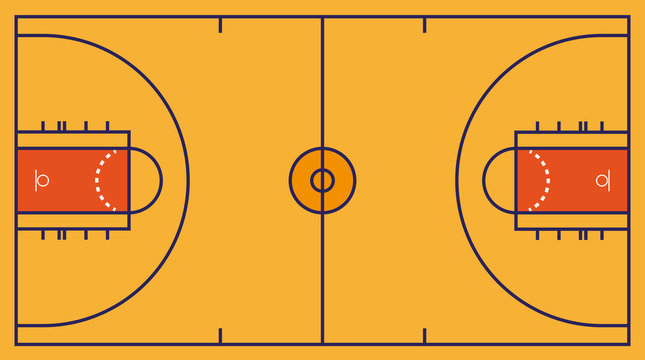 Frontal view of basket or basketball field. Geometric and flat.