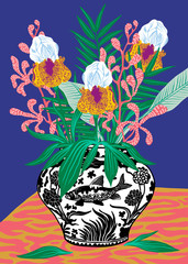 Flowervase with plants and flowers in chineese vase on table with blue background