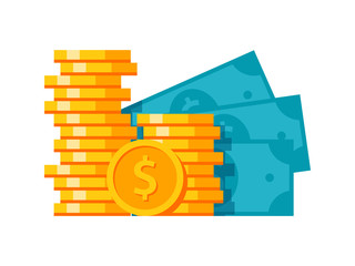 Money stylish modern illustration with coins and banknotes