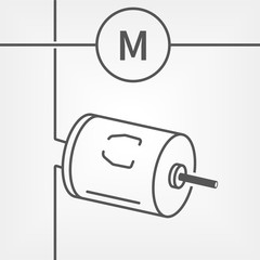 Small electric dc motor line vector icon with a schematic symbol of motor