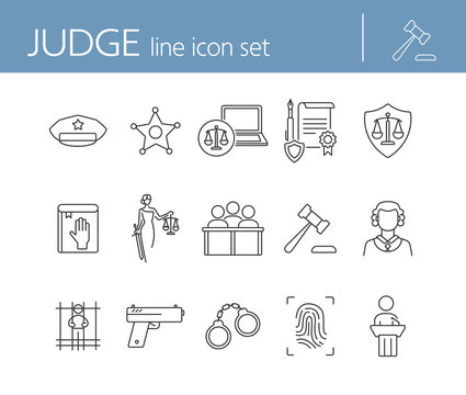 Judge line icon set. Sheriff badge, judge gavel, suspect, gun. Justice concept. Can be used for topics like crime, trial, courthouse