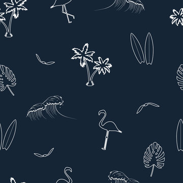 Seamless pattern with hand drawn elements - palm trees, surfboards, waves, flamingo, tropical leaves and gull birds. Vector illustration.